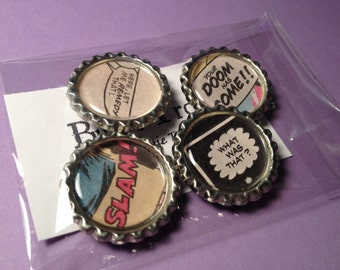 Comic Book Word Magnets - Set of Four