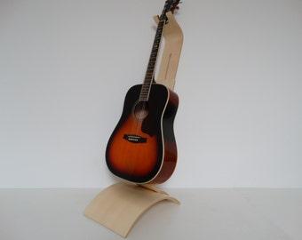 Support Guitare en Bois Hêtre, support partition et tablette en bois, multipli cintré