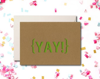 Yay Greeting Card, Kraft Greeting Card, Modern Card, Yellowdotpaper