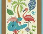FLAMINGO MONTAGE - Modern Counted Cross Stitch Pattern - pdf instant download