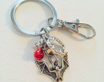 Fangs and Bat Vampire Keychain with Red Bell Made With Love