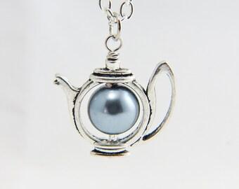 Teapot Necklace Teapot Pearl Necklace, Teapot Necklace, Teapot Charm, Silver Teapot Necklace, Pearl Teapot Necklace