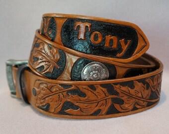 Leather Belt, Belt, Mens Belt, Personalized Belt, Western Belt, Womens Belt, Brown Leather Belt, Steel Concho Belt, Leaf Belt, Black Belt