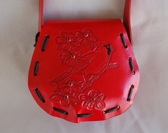 Purse, Leather Purse, Handbag, Rose Purse, Red Purse, Flower Purse, Leather Shoulder Bag, Cardinal Purse, Personalized Purse, Bird Purse
