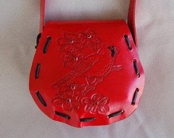 Purse, Leather Purse, Handbag, Rose Purse, Red Purse, Flower Purse, Leather Shoulder Bag, Cardinal Purse, Personalized Purse, Bird Purse