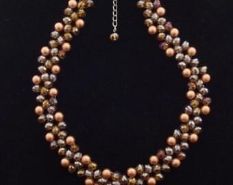 Gorgeous Vintage Gold Pearl & Aurora Borealis Necklace and Bracelet Set