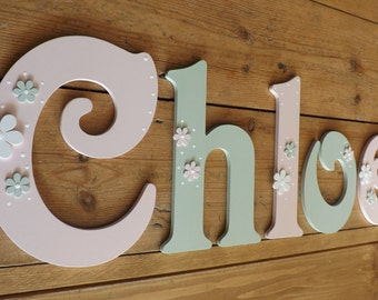 Girls hand painted Victorian font wooden wall letters. Large size mixed case. New Baby, Christening gift. Bedroom, Nursery Decor
