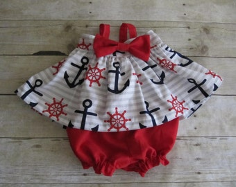 Nautical Anchor girls dress in navy blue, red and white with gray stripes