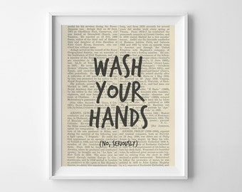 Funny Bathroom Art Print Wash Your Hands No Seriously Printable Bathroom Decor