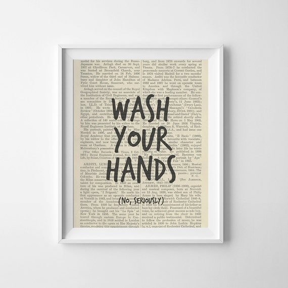 Funny Bathroom Art Print, Wash Your Hands, No Seriously, Printable Bathroom Decor, Wall Art, Washroom Art, Bathroom Printable, Printable Art
