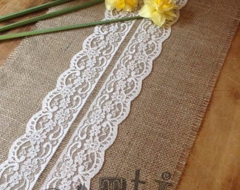 26ft Pretty Handmade Hessian and Lace Table Runner