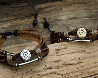 Handmade Brown Leather 45 auto Bullet Bracelet with Crystal Color of your Choice