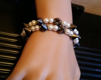 Memory Wire White Bead with Gun Metal Black Spikes Bracelet  or Anklet
