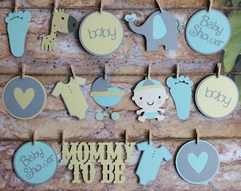 It's A Boy Garland, It's A Boy Die Cut Garland, Boy Shower Decor, Baby Boy Shower Decoration, Baby Boy Garland, Die Cut Decorations