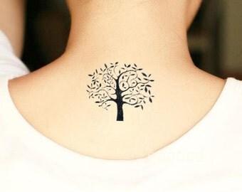 9pcs set Temporary TATTOO  tree plant Black  Tattoos Body Art tree Stick on tattoo- Ink Tattoos-  water tattoos