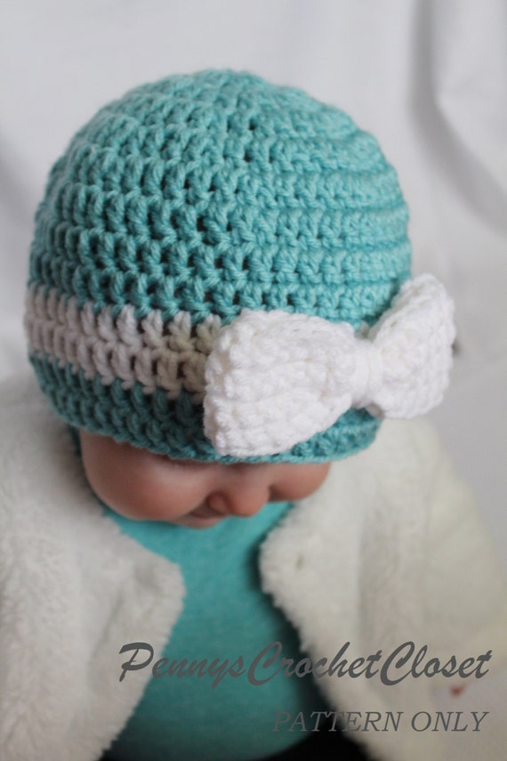 Crochet Baby Hat Patterns 0 3 Months : PATTERN ONLY Big Bow Hat crochet pattern includes sizes ...