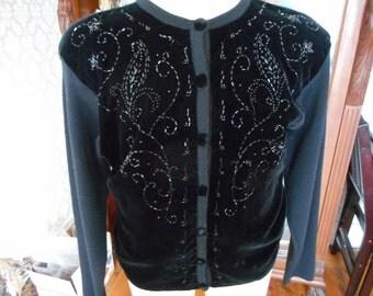 Vintage Velvet/Merino Wool Cardigan embellished with Blk.Bugal Beads