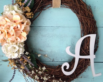 Summer Wreath, Front Door Wreath, Monogram Wreath, Monogram Rustic Door Wreath, Summer Door Wreath, Rustic Wreath, Wedding Wreath