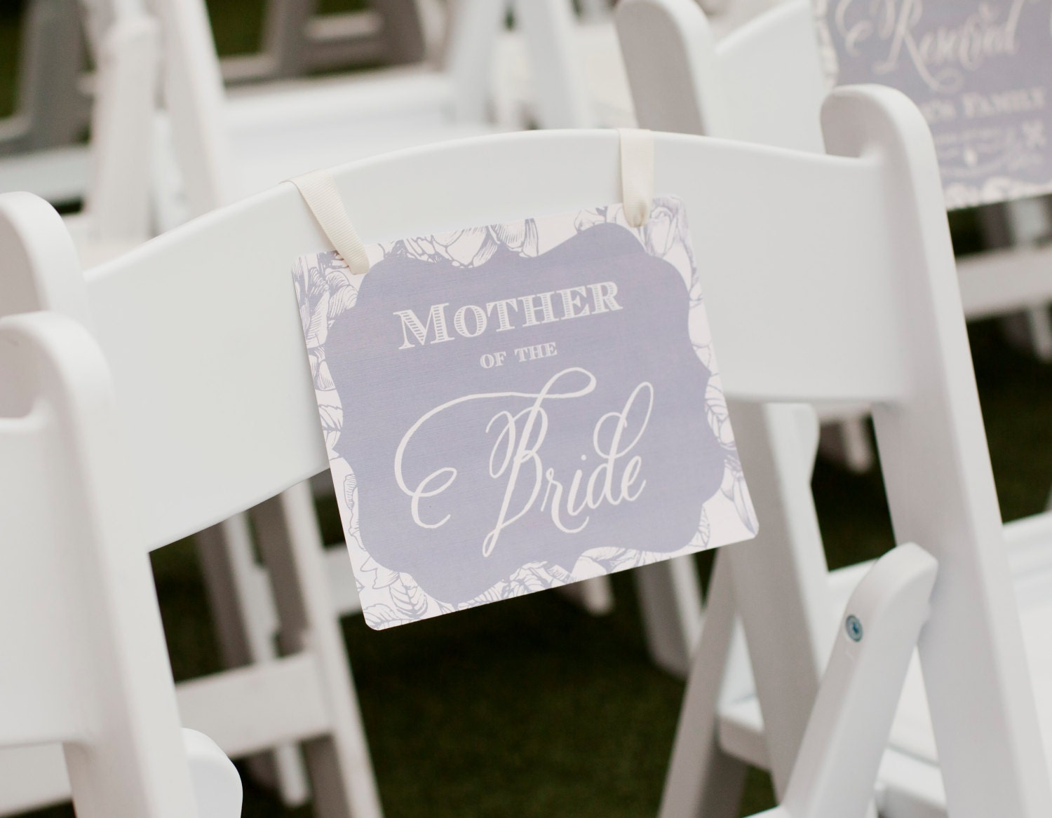 Chair Sign Reserved Seating Mother Of The Bride Wedding