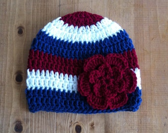 Red, White, and Blue Striped Beanie