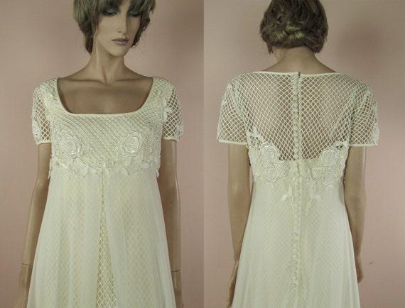 70er Jahre Vintage Wedding Dress Elegante Ivory