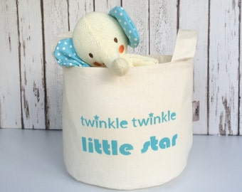 Nursery storage basket. Cream cotton and turquoise blue stars. Baby gift. Nursery decor in screen printed star pattern.