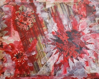 """Mixed Media Abstract Collage, """"Red Flowers"""""""