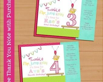 Printable Birthday Invitation Gymnast Girl Pink 5x7 6 Years Digital Gymnastics. FREE THANK YOU Card!