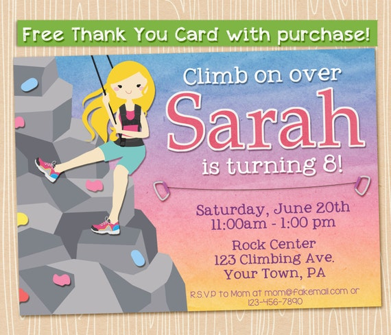 Rock Climbing Party Invitation. Printable Blonde Girl Climber, 5x7 FREE THANK YOU Card!