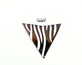 Eco friendly shell jewelry, beach jewelry, Triangular Zebra Sea Shell necklace