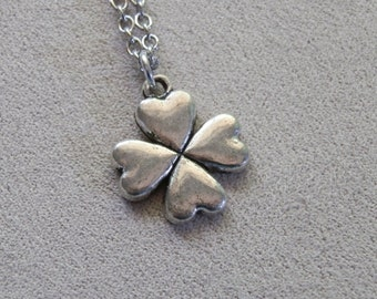 Necklace, Four Leaf Clover, Shamrock, Good Luck Charm Pendant