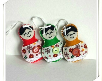 Matryoshka Ornament . Nesting doll.Christmas Decorations.Christmas Ornament. Felt Christmas ornament. Babushka. Stocking Stuffer Doll