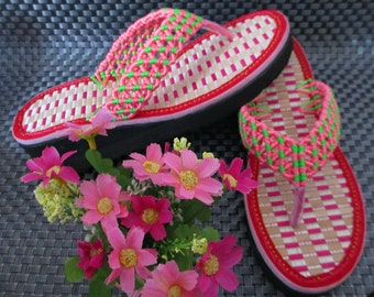 Custom Beach Wedding Flip Flops *you can choose color you like*Crochet Womens Girls Shoes Special Knitted Flip Flops For Party Birthday Gift