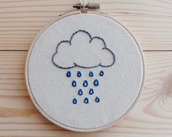 Embroidery Hoop Art - Cloud & Raindrops