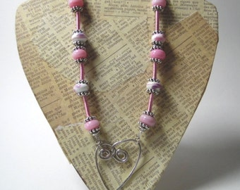 Pink  Lampwork Silver Wire Heart Necklace