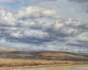 Original Cloudscape Oil Painting of Wyoming , 'Endless', Framed