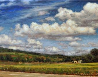 Original Landscape Oil Painting, 'The Road to Austin', Framed