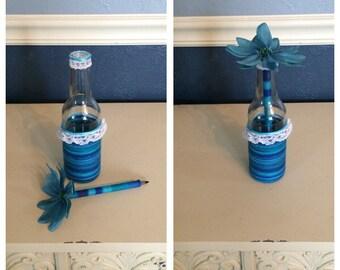 Shabby Chic Flower Pen and Glass Bottle Holder in Blue