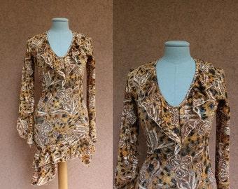1990's Brown Asymetrical Dress - Size S