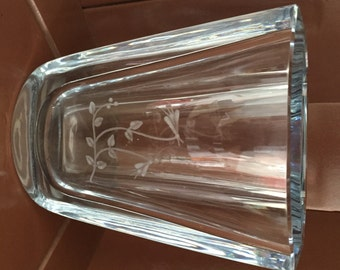 STROMBERGSHYTTAN GLASS VASE,  Art Glass From Sweden With Etched Flowers