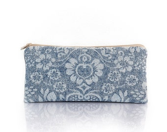 Zippered pencil case, Flower pouch, Blue jeans, Lined pencil case, School pencil case, Gadget pouch, Make Up bag, Cosmetic case, clutch,