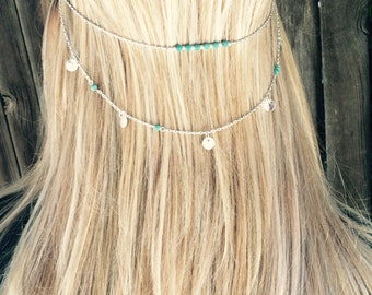 Turquoise and silver Hair chain jewelry,  head chain accessory with small coins and turquoise beads,   hippie head piece.