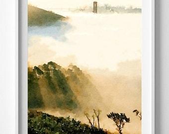 San Francisco Print,Fog,Watercolor, illustration,art print,Home Decor Pic No 66