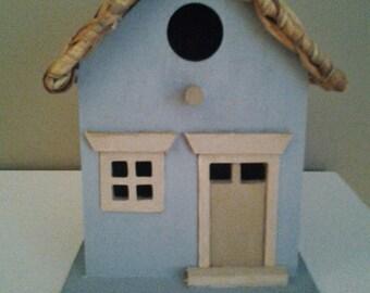 Birdhouse:  Wooden Rustic Blue Birdhouse