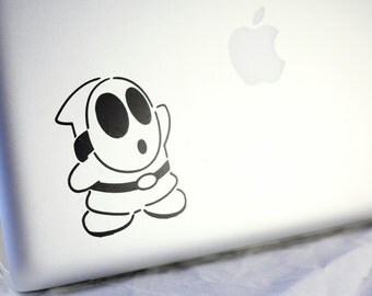 Shy Guy Decal Vinyl Sticker available in white or black for electronic devices and glass. Super Mario Nintendo