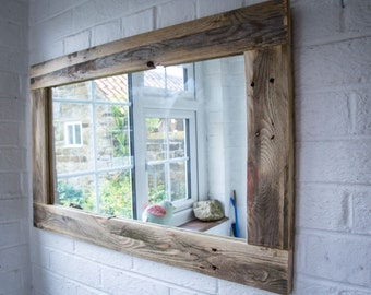 rustic mirror made from reclaimed pallet wood