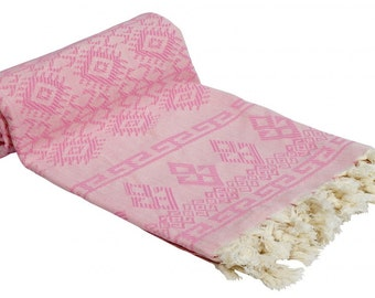 Turkish Kilim Designed Bath & Beach Towel Peshtemal Pink