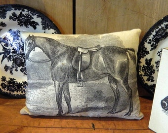 Primitive Vintage Black Horse Pillow Handmade Tea Dyed Feed Sack Pillow - Cupboard Tuck