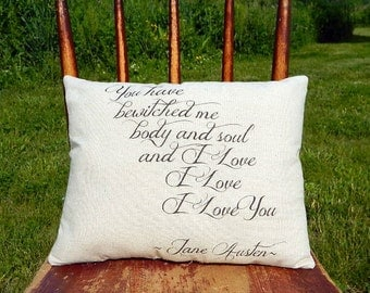 Jane Austen Pillow - Handmade Pillow - Love Poem Pillow
