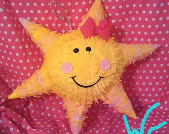 You Are My Sunshine PIÑATA Only with Dot Eyes and Dark Pink Bow...Other items pictured are sold separately